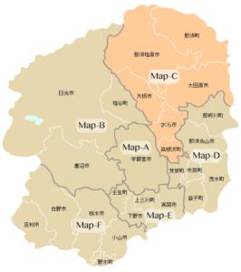 Map-C:那須塩原市・那須町・大田原市・矢板市・さくら市・高根沢町