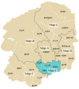Map-E:真岡市・上三川町・下野市・壬生町