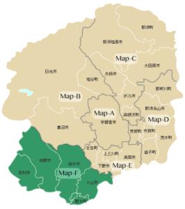 Map-F:小山市・野木町・栃木市・佐野市・足利市