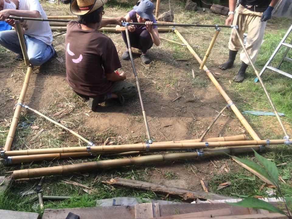 間伐した竹を使ってモバイル竹テントの製作